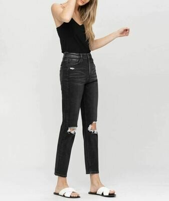 Distressed Black Mom Jean