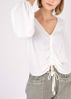 White Shirred Tie Top