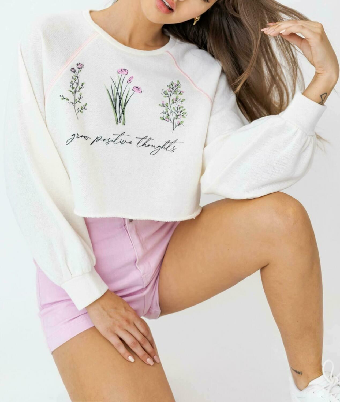 Floral Graphic Crop Sweatshirt