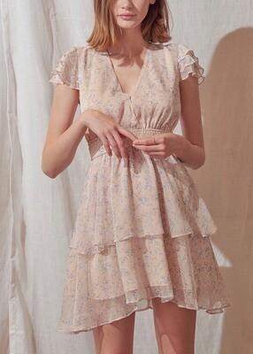 Soft Pink Tiered Ruffle Dress