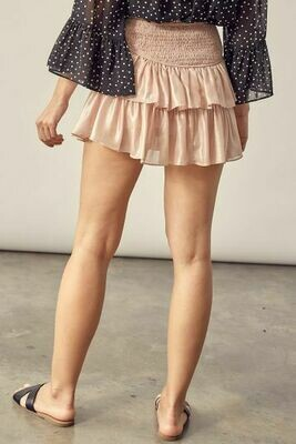 Shiny Blush Smocked Skirt
