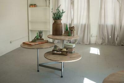 3 Round  Wood & iron Table