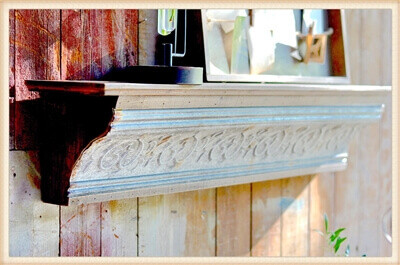 Wood Shelf Ledge with Embossed Tin