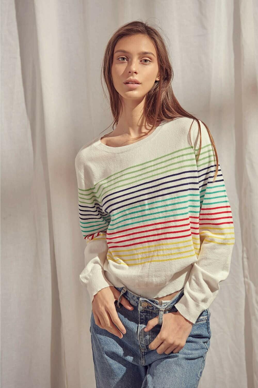 Multi Stripe Sweater Top