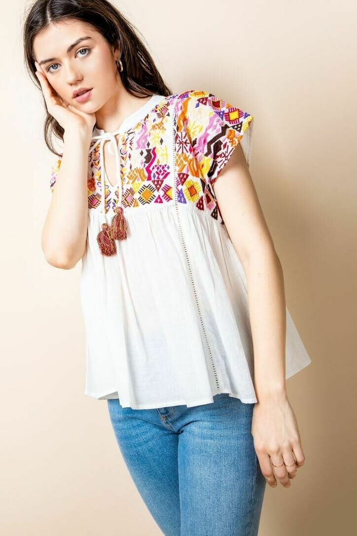White Embroidered Flowy Top