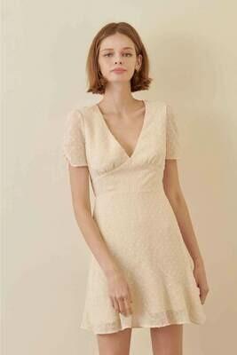 Cream Empire Waist Dress