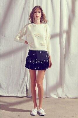 White Star Embroidered Skirt