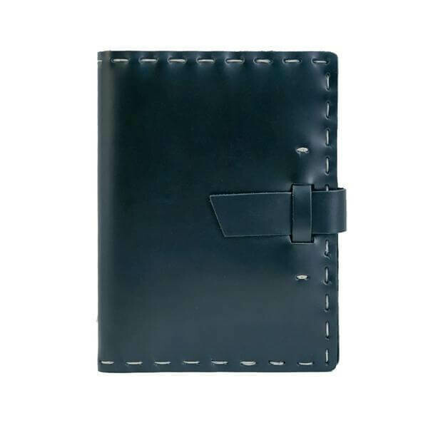 """Leather Hand Sewn, Refillable 6.75""""x8.75""""-Black"""