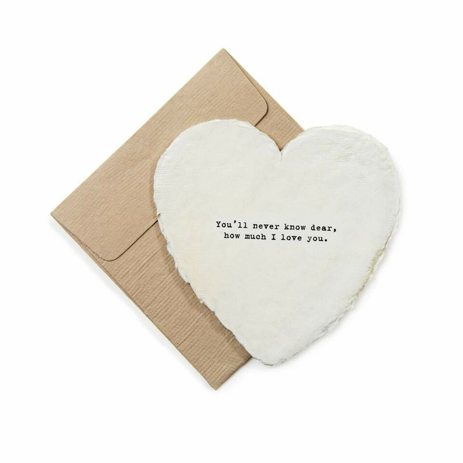 Mini Heart Shaped Card &  Envelope-You'll never know dear,