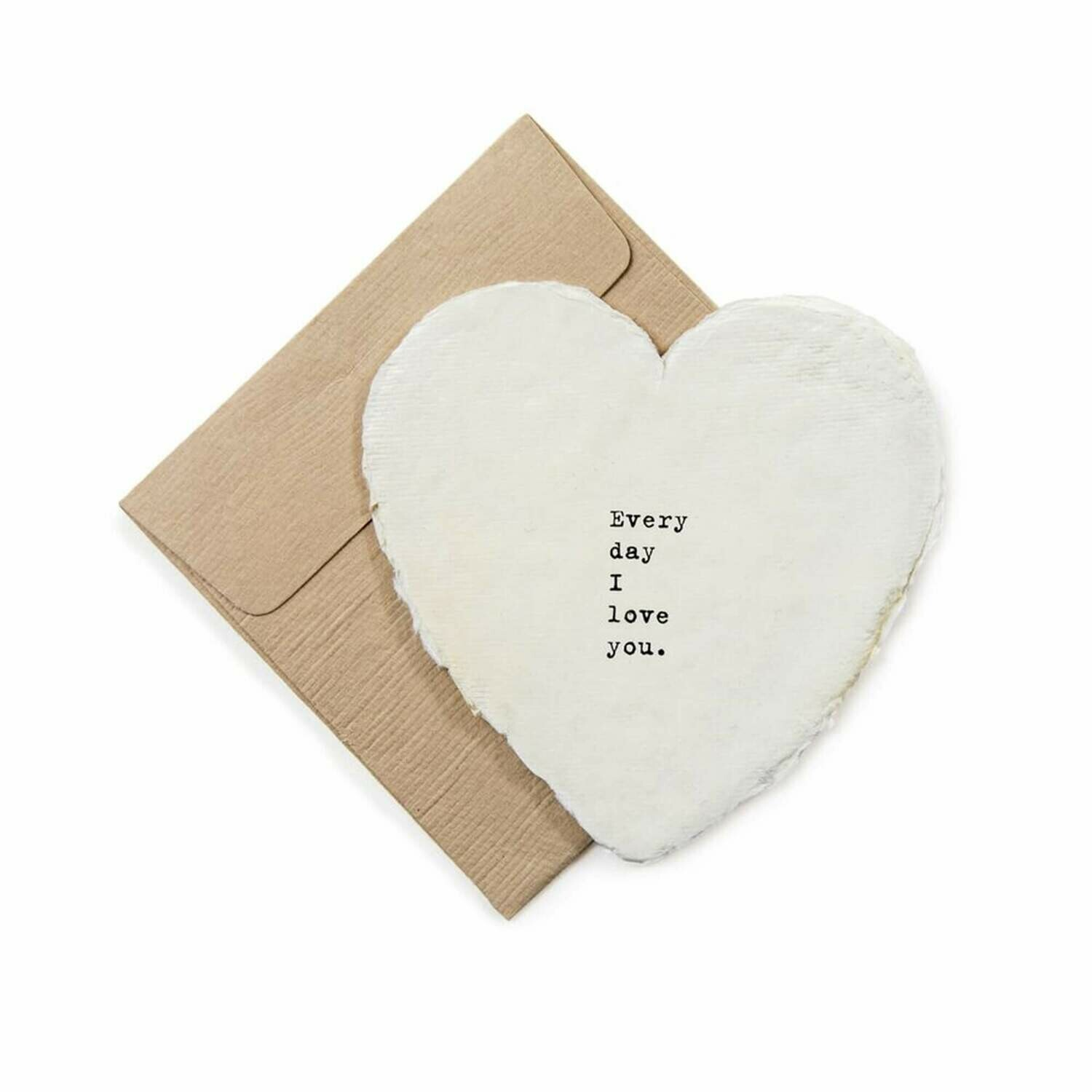 Mini Heart Shaped Card & Envelope-Every day I love you.