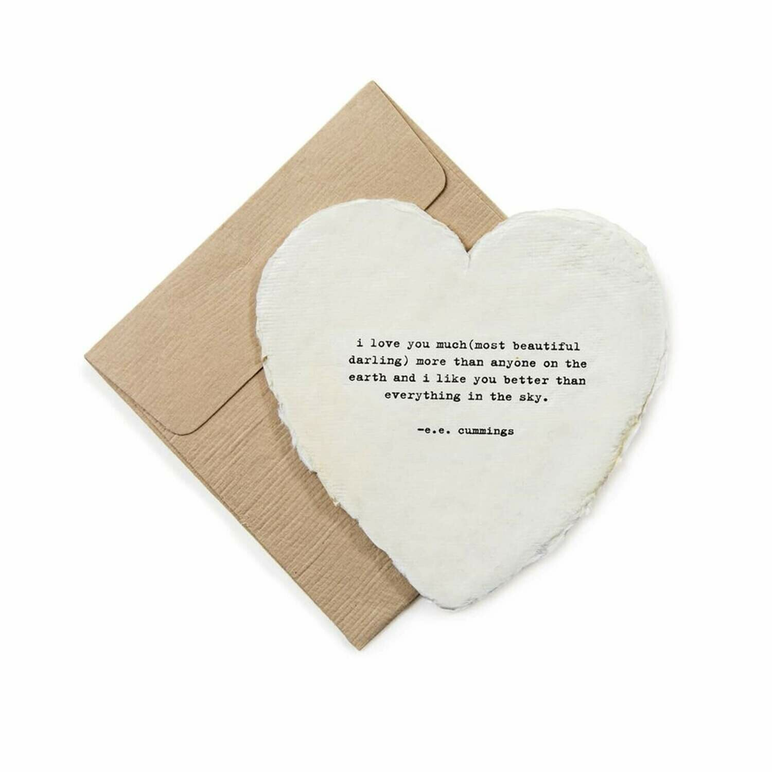Mini Heart Shaped Card & Envelope-i love you much (most beautiful darling)