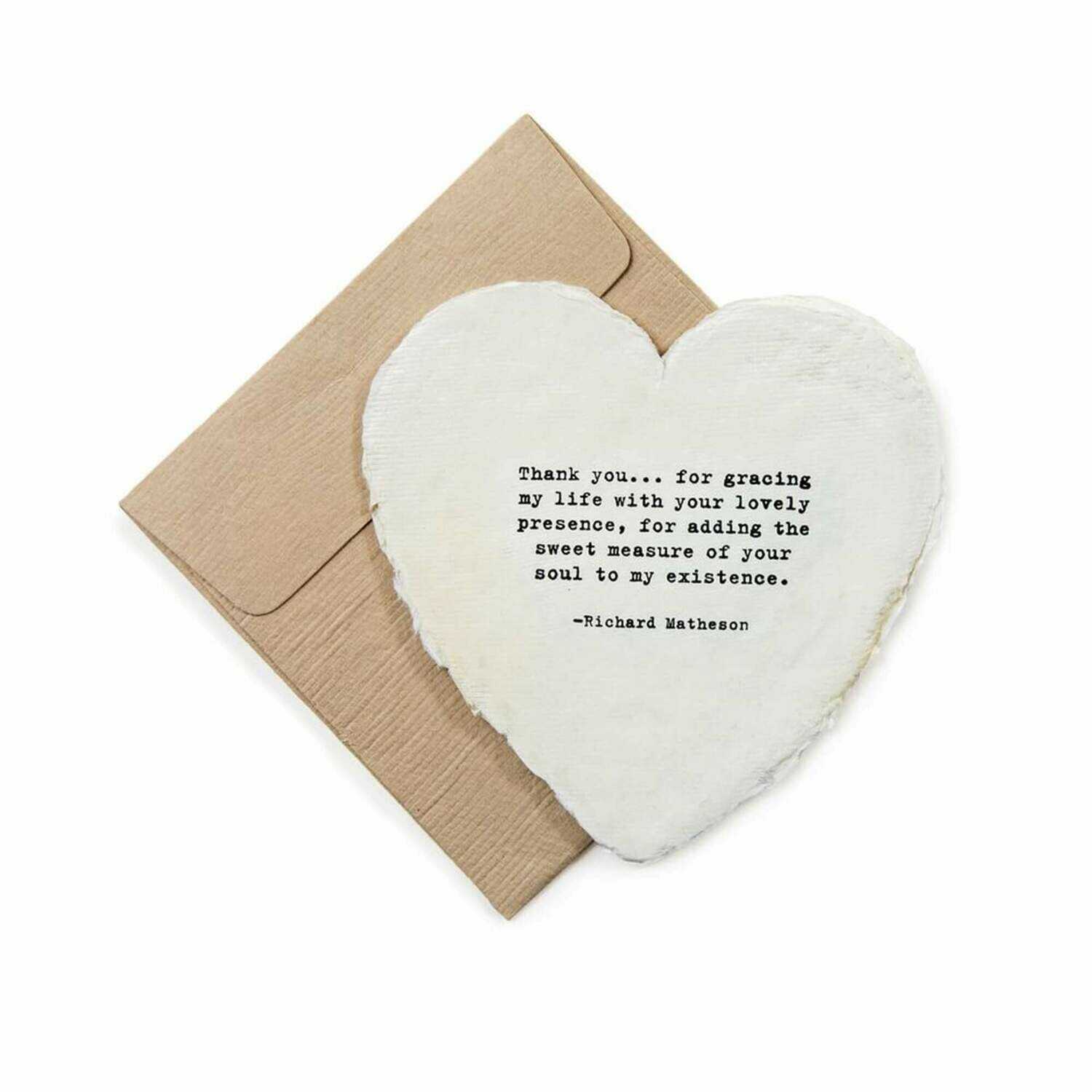 Mini Heart Shaped Card & Envelope-Thank you...for gracing my life