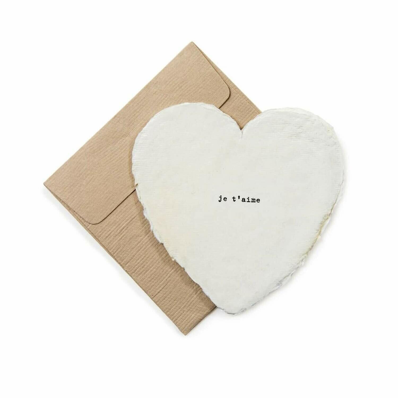 Mini Heart Shaped Card & Envelope-Je t'aime