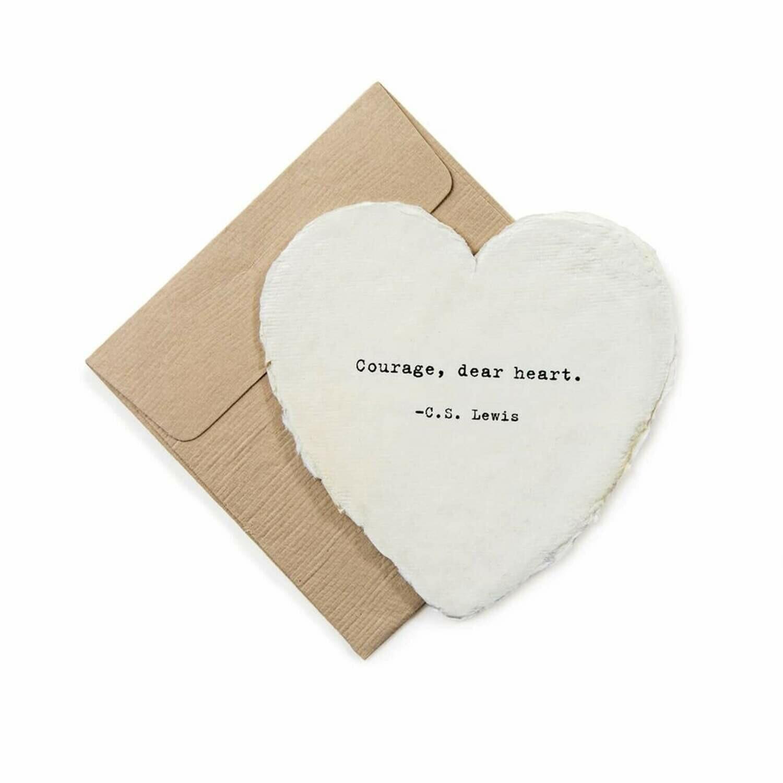 Mini Heart Shaped Card & Envelope-Courage, dear heart.