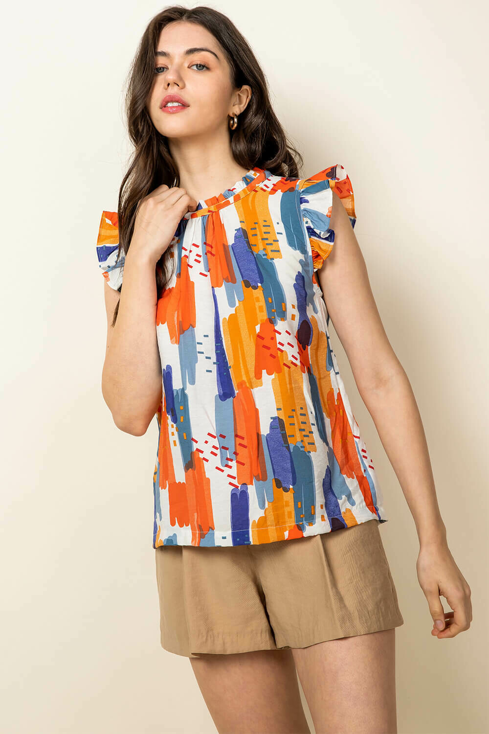 Colorful Flutter Sleeve Top