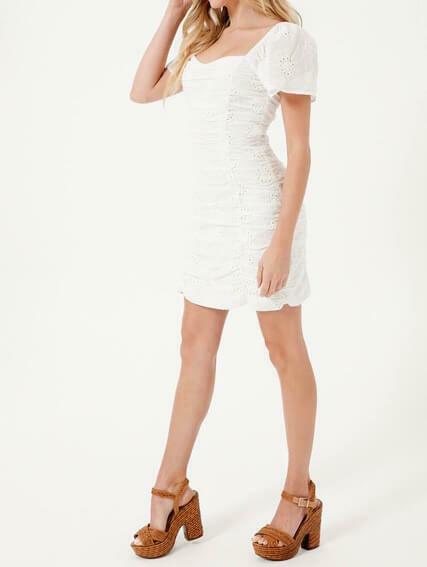 White Ruched Eyelet Dress