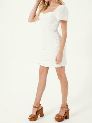 White Ruched Eyelet Dress