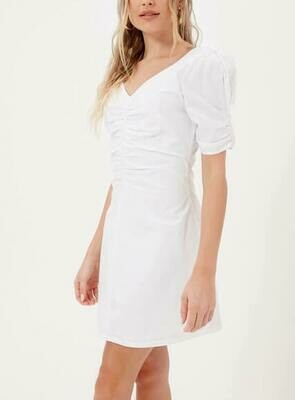 White Ruched Dress
