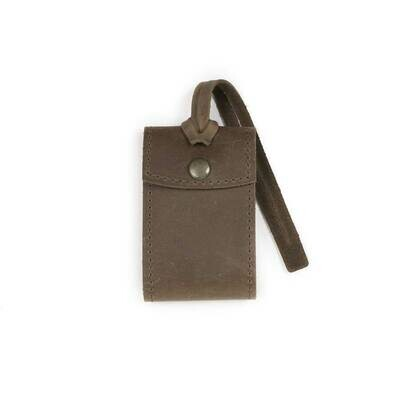 Security Leather Luggage Tag-Dark Brown