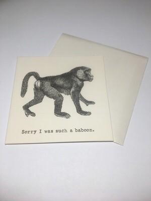 Apology Mini Card-baboon