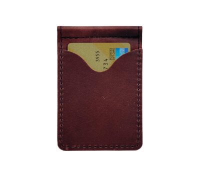 Minimalist Burgundy Leather Money Clip