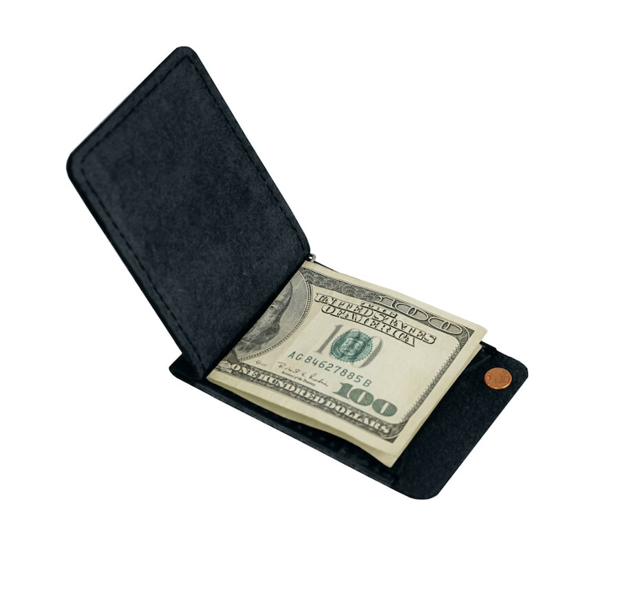 Minimalist Black Leather Money Clip