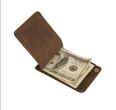 Minimalist Dark Brown Leather Money Clip