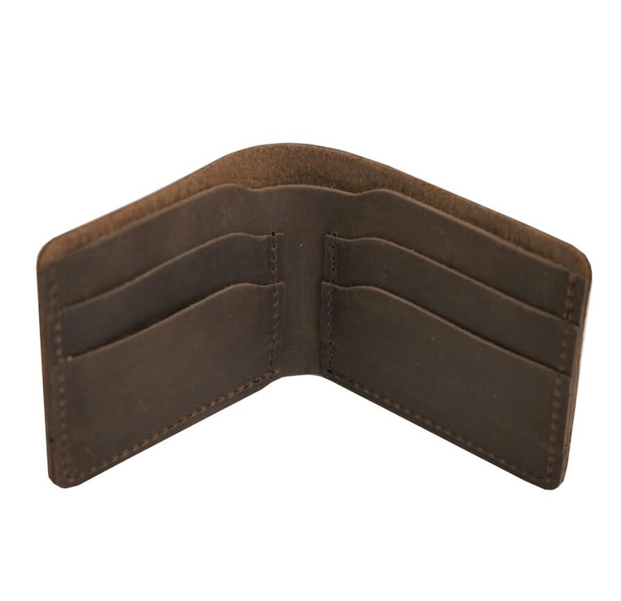 Bifold Leather Wallet -Dark Brown