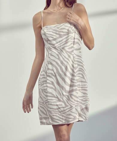 Taupe Zebra Pattern Linen-Blend Dress