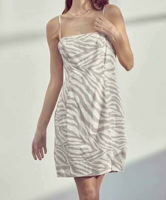 Taupe Zebra Pattern Linen-Blend Dress
