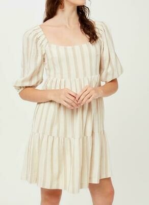 Taupe Stripe Cotton Dress with Puffy Sleeves