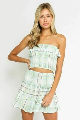 Green Plaid Smocked Tube Top