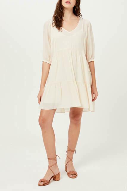 Blush White Flowy Babydoll Dress