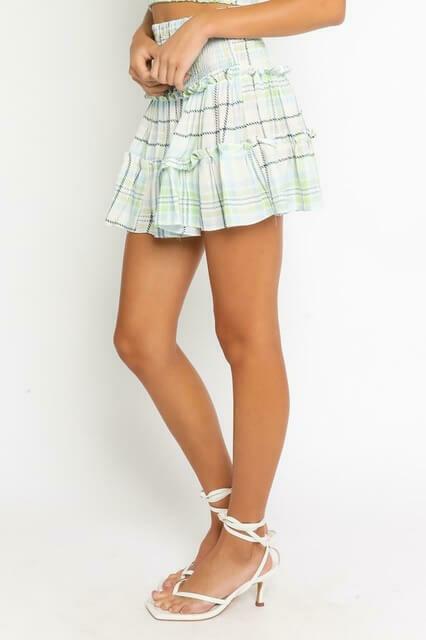 Blue & Green Plaid Miniskirt