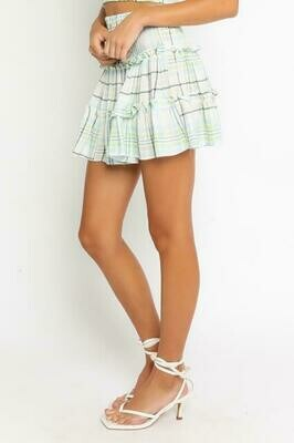 Blue & Green Plaid Miniskirt