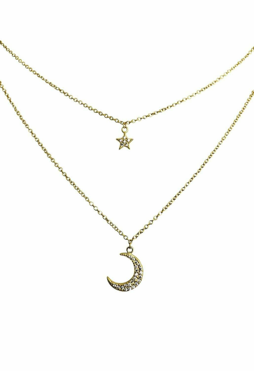 Double Layer CZ Moon + Star Necklace /20260
