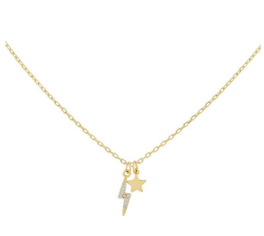 "Lightning Bolt & Star 16"" Necklace"