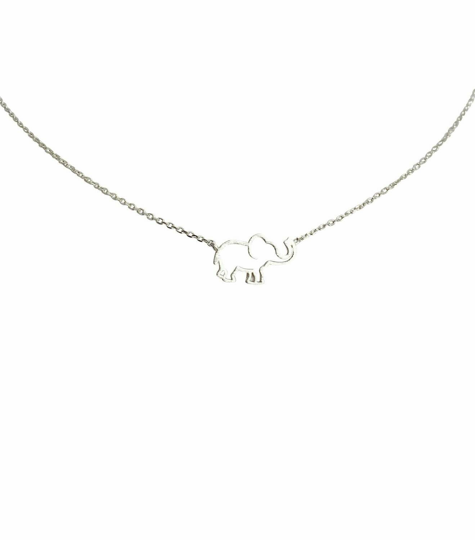 "Elephant Outline Sterling 16"" Necklace"