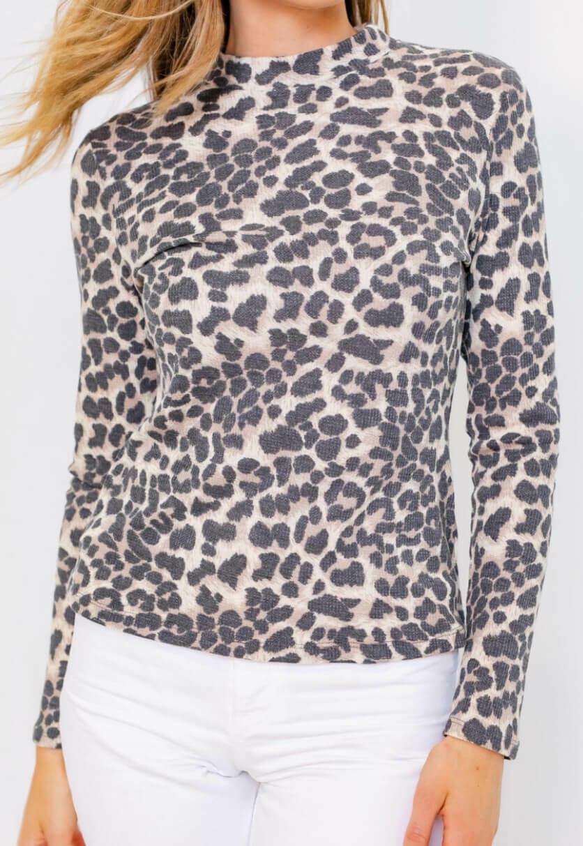 Comfy Leopard Mock Neck Top