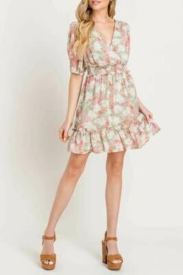 Pink & Green Floral Print Smocked Waist Dress