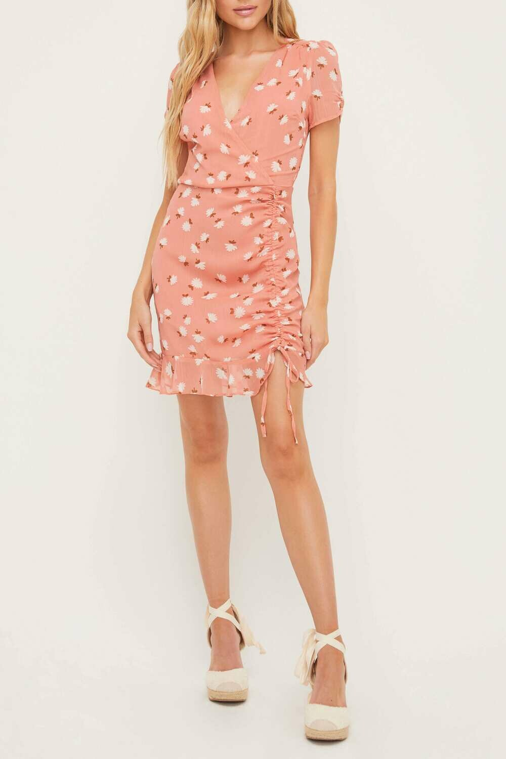 Pink Floral Print Dress with Side Ruching