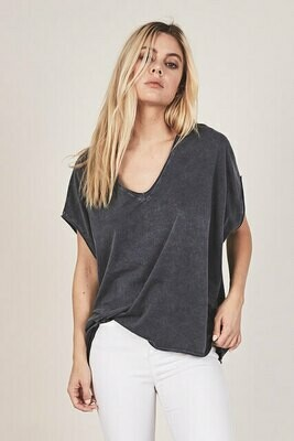 Charcoal Boxy Cotton Tee