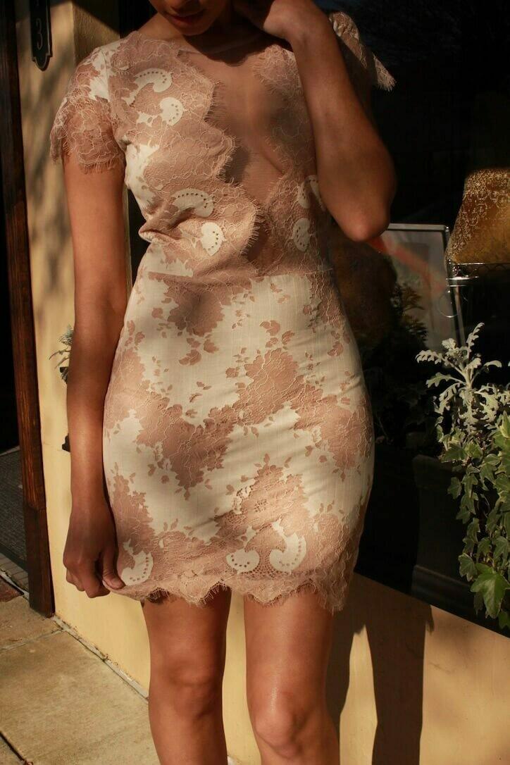 Two-tone Beige Lace Dress