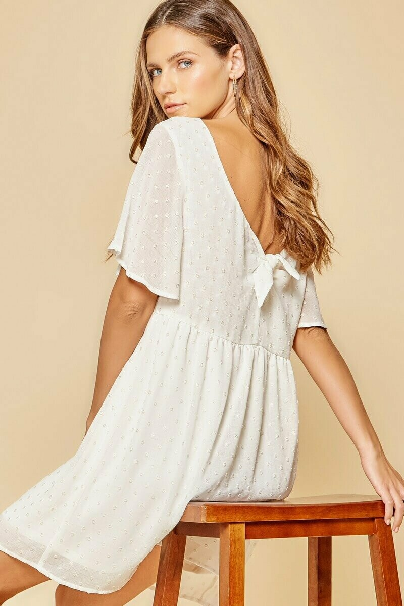 White Babydoll Dress with Gold Dots