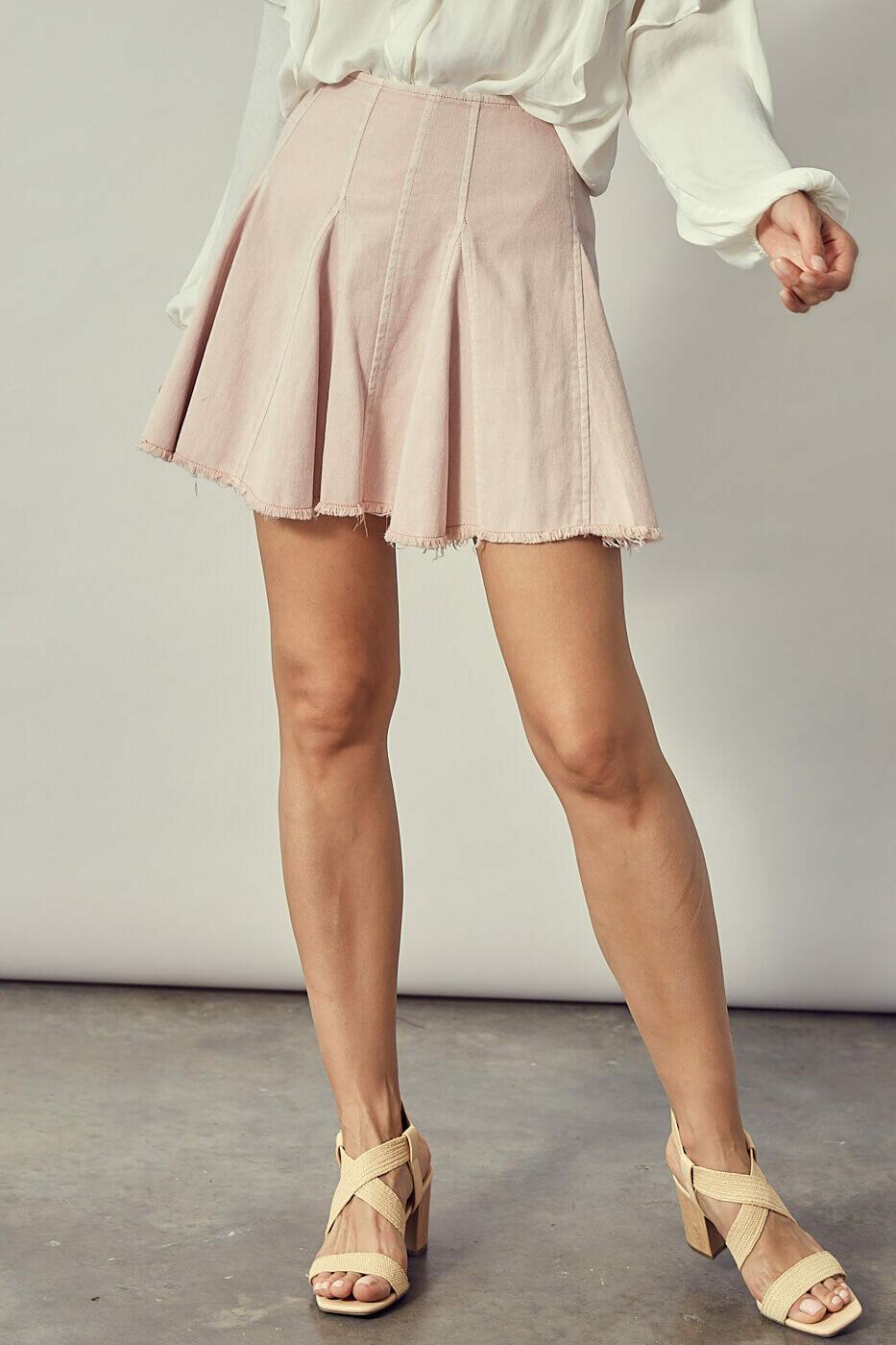 Peach Cut Edge Denim Skirt