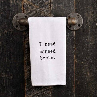 I Read Banned Books Hand Printed Towel