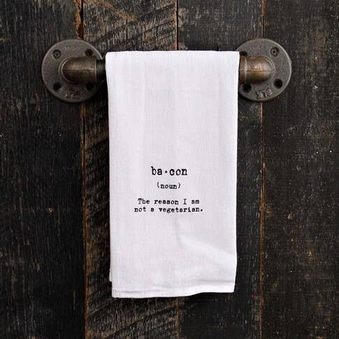 Bacon - The Reason I Am Not A Vegetarian hand Printed Towel