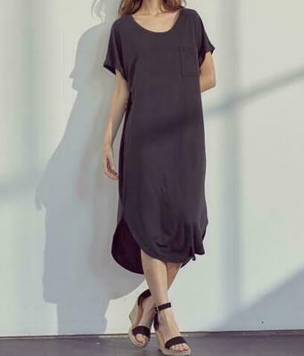 Midi Black Knit Short Sleeve Dress