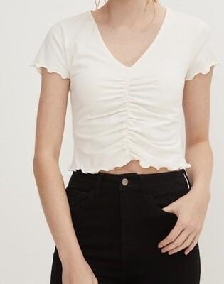 White Short Sleeve Crop Top