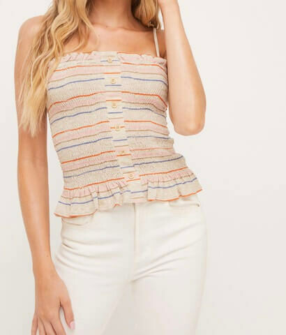 Stripe Smocked Cami Top